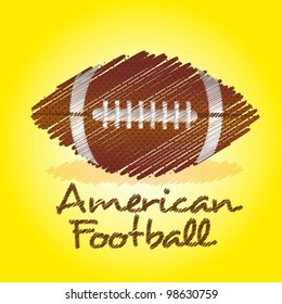 american footbal drawing over yellow background
