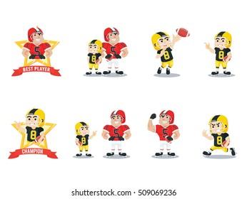american footbal player cartoon set