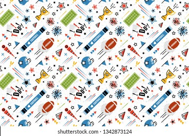 American football abstract background in 80s memphis style. Seamless memphis pattern for posers and banners. Vector illustration
