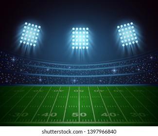 American football arena with bright stadium lights design. vector illustration