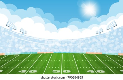 American football arena field with day design. Vector illumination