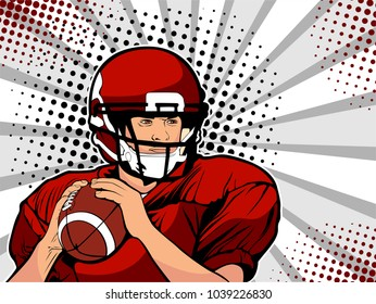 American football athlete. Sports game. The American football championship. Football Cup. League. Vector illustration in pop art retro comic style.