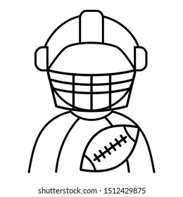American football avatar player vector illustration in black and white. Icon for websites and mobile applications.