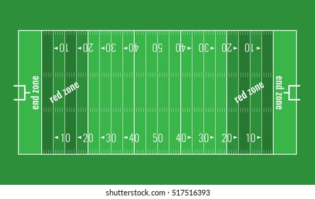 American football background. Vector grass textured American football field. Lines marked along ends and sides are end lines and sidelines, and goal lines are marked 10 yards inward from each end line