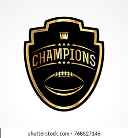 An American football badge emblem champions illustration. Vector EPS 10 available.