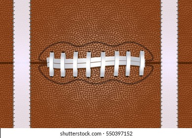 American Football ball close up, with white laces, background. Vector illustration