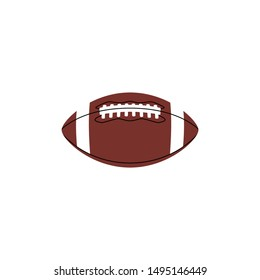 American football ball colorful vector icon. Rugby ball brown symbol.