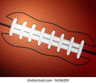 American football ball detail leather texture background. Vector illustration.