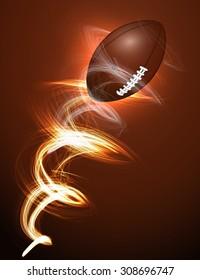 American football ball in fire