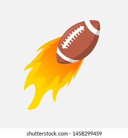 American Football ball in fire flame. Rugby fireball cartoon icon. Fast ball logo in motion isolated.