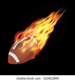 American football ball in fire flying down. Isolated on dark background. Vector illustration