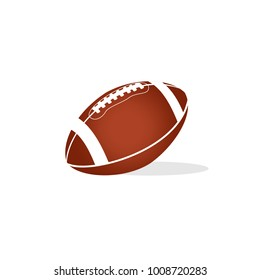 American football ball icon in flat style isolated vector illustration on white transparent background