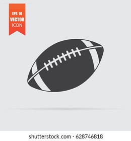 American football ball icon in flat style isolated on grey background. For your design, logo. Vector illustration.