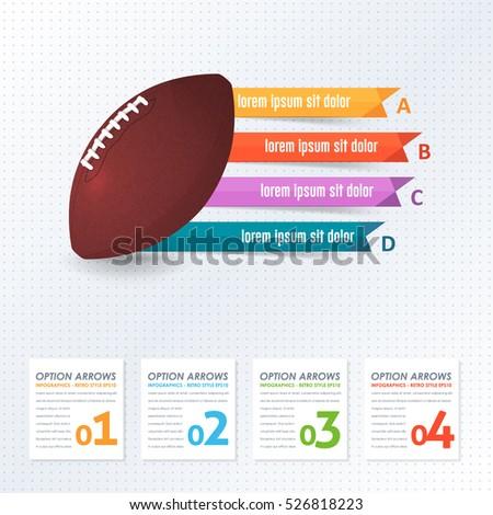 American Football Ball Infographics Background Design Stock