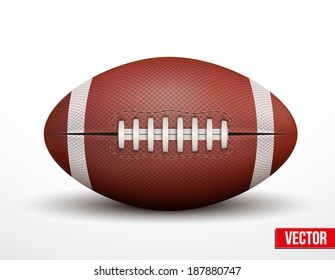 American Football ball isolated on a white background. Realistic Vector Illustration. Rugby sport.