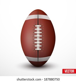American Football ball isolated on a white background. Realistic Vector Illustration. Rugby sports.