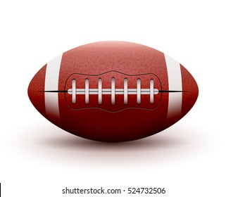 American Football ball isolated on white background. Vector illustration rugby sport game. Competition team