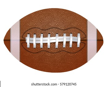American football ball, isolated on white background. Realistic vector illustration