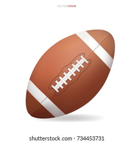 American football ball isolated on white background. Vector illustration.