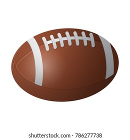American football ball - modern vector realistic isolated object on white background. Game, sport concept. Use this high quality clip art for presentations, banners, flyers