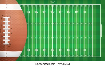 American football ball on football field pattern background. Vector illustration.