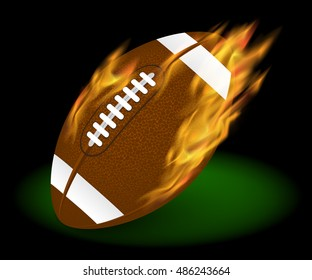 American football ball on fire with flares flying. Illustrated vector. Footbal rugby season. Photorealistic illustration.