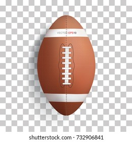 American football ball on transparent background, vector illustration.