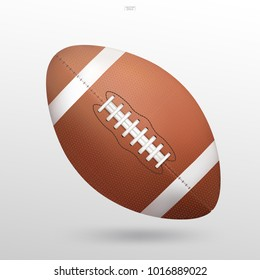 American football ball on white background with soft shadow. Vector illustration.