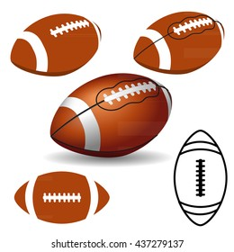 American football ball on white background. Rugby icons, logo. Vector illustration