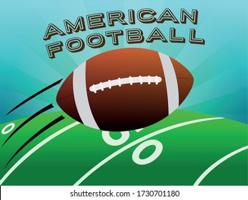 American football ball over a field. American football poster - Vector