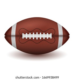 American football ball. realistic icon. front view american rugby ball. vector illustration isolated on white background