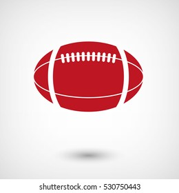 American football ball - red vector  icon with shadow