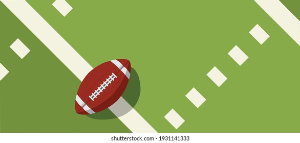 american football ball standing on white line.