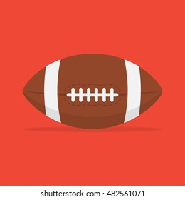American football ball vector icon isolated from the background. Leather, with a seam the ball for American football in a flat style. Sport and active leisure symbol.