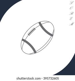 American football ball vector line icon.