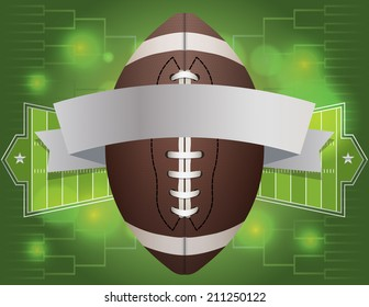 An american football and banner with field background. Vector EPS 10. EPS file contains transparencies.