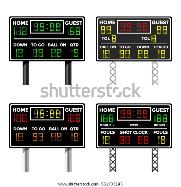 American Football And Basketball Scoreboard Set. Time, Guest, Home. Electronic Wireless Scoreboard Timer. Vector Illustration. Isolated On White Background