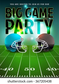 American football big game party illustration. Vector EPS 10 available. EPS file contains transparencies and gradient mesh. Text has been converted to outlines in the vector file.
