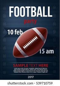 american football championship background 3d realistic vector object place for text eps 10 2017 ball