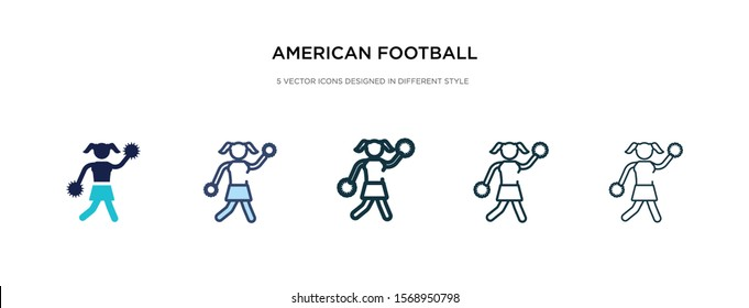 american football cheerleader jump icon in different style vector illustration. two colored and black american football cheerleader jump vector icons designed in filled, outline, line and stroke