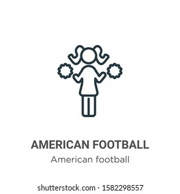 American football cheerleader jump outline vector icon. Thin line black american football cheerleader jump icon, flat vector simple element illustration from editable american football concept