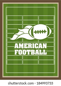 American football design over green pitch background, vector illustration