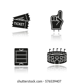 American football drop shadow black icons set. Fans foam finger, game tickets, baseball arena, field scheme. Isolated vector illustrations