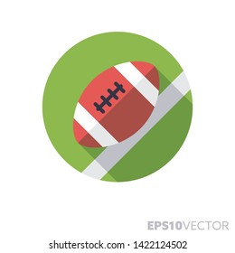 American football egg on field flat design round icon. Color symbol of team sports and ball games. Long shadow vector illustration in a circle isolated on white background.