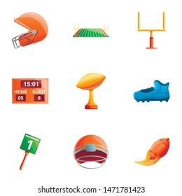 American football equipment icon set. Cartoon set of 9 american football equipment vector icons for web design isolated on white background