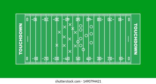 American football field background. vector illustration