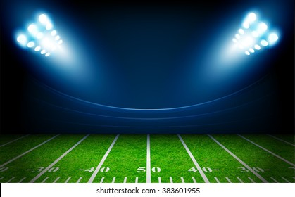 American Football field with bright stadium lights vector design