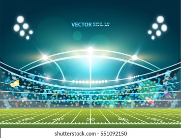 American Football field with bright stadium lights shining on it. Vector EPS 10