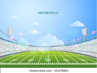 American Football field with bright stadium lights.Vector EPS 10.