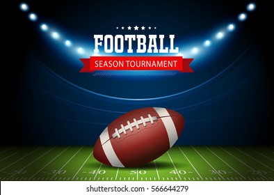 American Football field with bright stadium lights shining on it. Vector Illustration design. Rugby sport.